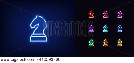 Neon Chessmen Knight Icon. Glowing Neon Horse Sign, Outline Chess Piece, Silhouette In Vivid Colors.