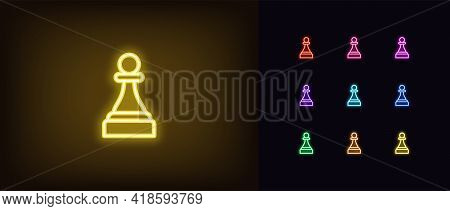 Neon Chessmen Pawn Icon. Glowing Neon Pawn Sign, Outline Chess Piece, Silhouette In Vivid Colors. On
