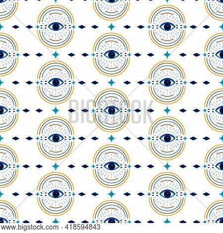 Pattern With Symbolic Talismans In The Form Of Eyes. Mystical Look. Vector Esoteric Illustration Iso