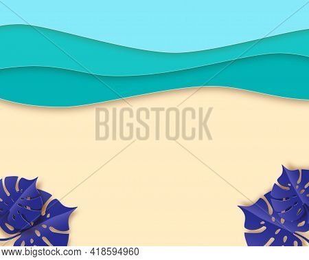 Summer Beach Banner, Blue Sea And Beach Summer Background With Curve Paper Waves And Seacoast. Conce