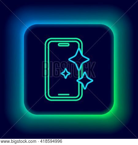 Glowing Neon Line Glass Screen Protector For Smartphone Icon Isolated On Black Background. Protectiv