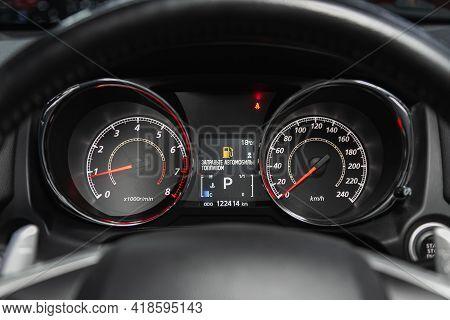 Novosibirsk, Russia - April 25 2021: Mitsubishi Asx, Round Speedometer, Odometer With A Range Of 122