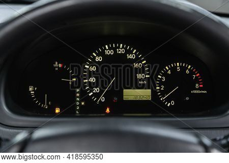 Novosibirsk, Russia - April 25 2021: Toyota Harrier,  Round Speedometer, Odometer With A Range Of 18