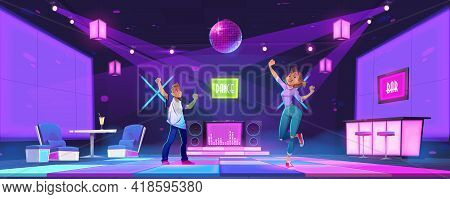 Young People Dance At Night Club Disco Party, Man And Woman Dancing, Moving With Raised Hands. Teena