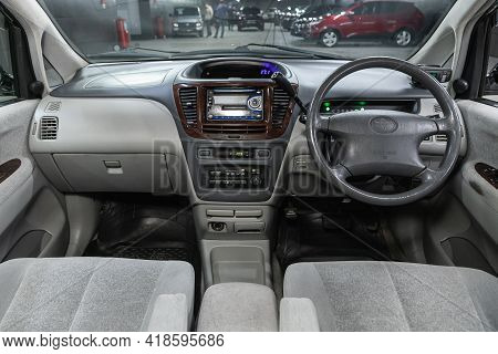 Novosibirsk, Russia - April 25 2021: Toyota Nadia,  Steering Wheel, Shift Lever And Dashboard, Clima
