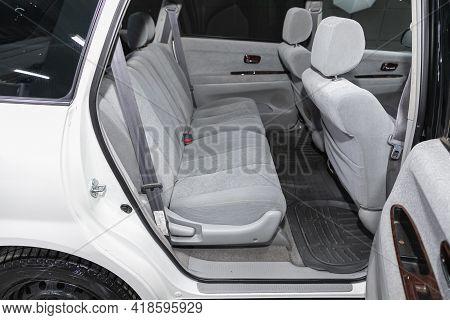Novosibirsk, Russia - April 25 2021: Toyota Nadia, Comfort Car Inside. Clean Car Interior: Black Bac