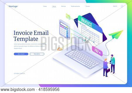Invoice Email Template. Digital Form For Calculate And Send Payments, Bills And Receipt. Vector Land