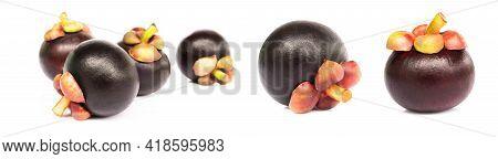 Set Of Fresh Mangosteen Fruit On White Background