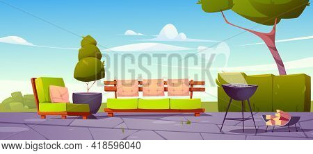 House Backyard, Patio With Sofa, Armchair And Cooking Grill For Bbq. Green Lawn, Couch, Chair, Trees