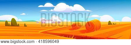 Rural Landscape With Hay Bales On Agriculture Field And Farm Buildings. Vector Cartoon Illustration