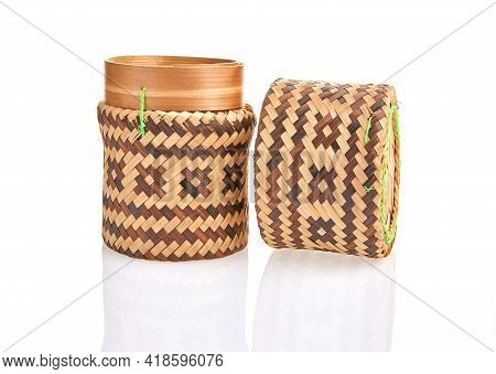 Handmade Natural Product, Round Wicker Basket, Rattan Weaving. Eco Friendly And Sustainable Concept.