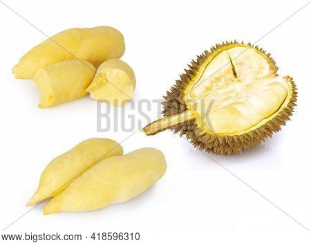Ripe Durian Fruit Isolated On White Background