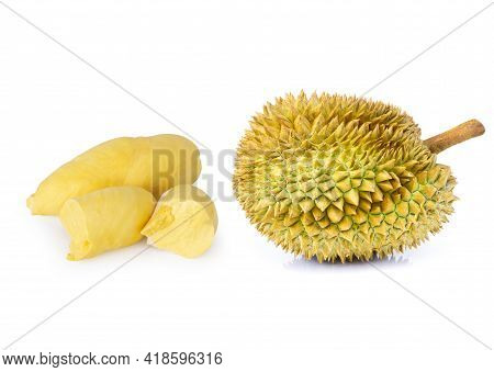Ripe Durian Tropical Fruit Isolated On White Background