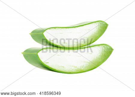 Aloe Vera With Slice Isolated On White Background, Herb And Medical