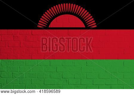 Flag Of Malawi. Brick Wall Texture Of The Flag Of Malawi.