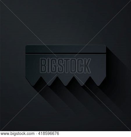 Paper Cut Sponge With Bubbles Icon Isolated On Black Background. Wisp Of Bast For Washing Dishes. Cl