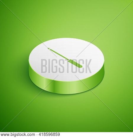 Isometric Knife Sharpener Icon Isolated On Green Background. White Circle Button. Vector Illustratio