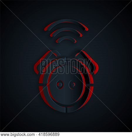 Paper Cut Robot Vacuum Cleaner Icon Isolated On Black Background. Home Smart Appliance For Automatic