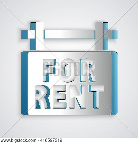 Paper Cut Hanging Sign With Text For Rent Icon Isolated On Grey Background. Signboard With Text For