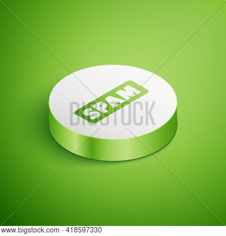 Isometric Spam Icon Isolated On Green Background. White Circle Button. Vector