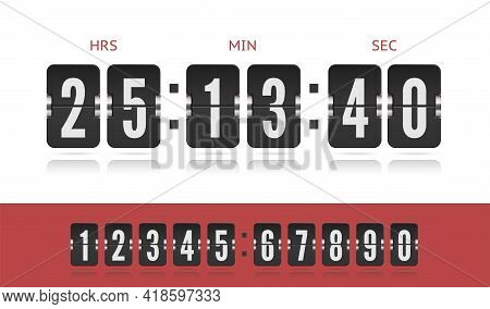 Coming Soon Web Page Design With Flip Time Counter. Vector Modern Ui Design Old Countdown Timer. Sco