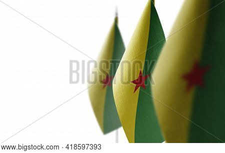 Small National Flags Of The French Guiana On A White Background