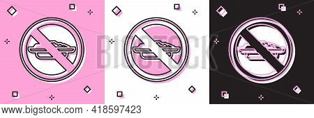 Set Food No Diet Icon Isolated On Pink And White, Black Background. Healing Hunger. Vector