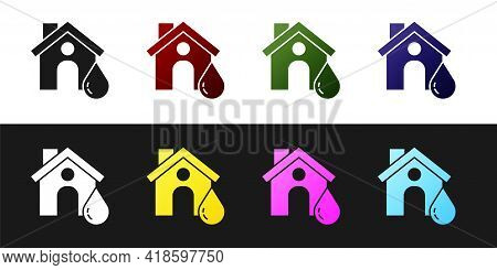 Set House Flood Icon Isolated On Black And White Background. Home Flooding Under Water. Insurance Co