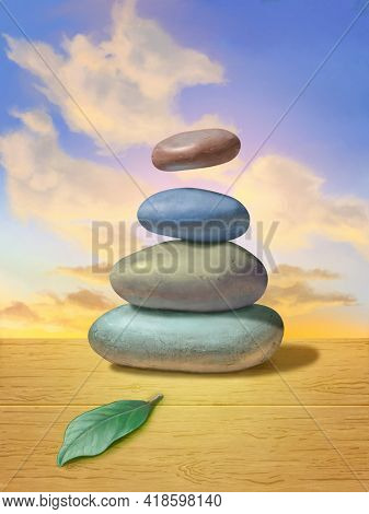 Pile of smooth stones on a wooden desk. The top stone is floating mid-air against a beautiful sunset. Digital painting.