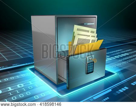 Physical documents are stored in a cabinet's drawer, protected by a code and a key. 3D illustration.