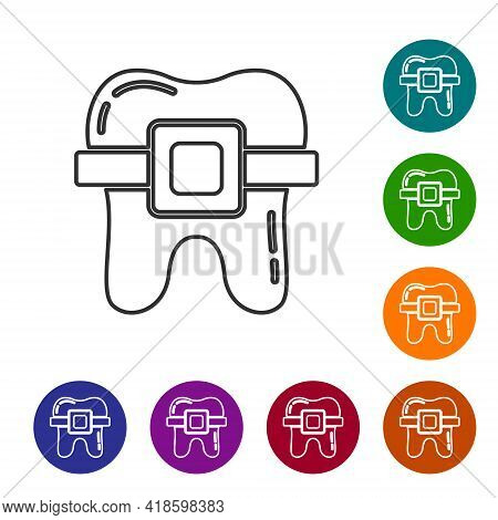 Black Line Teeth With Braces Icon Isolated On White Background. Alignment Of Bite Of Teeth, Dental R
