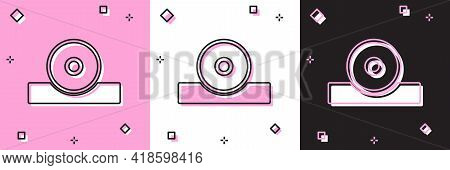 Set Otolaryngological Head Reflector Icon Isolated On Pink And White, Black Background. Equipment Fo