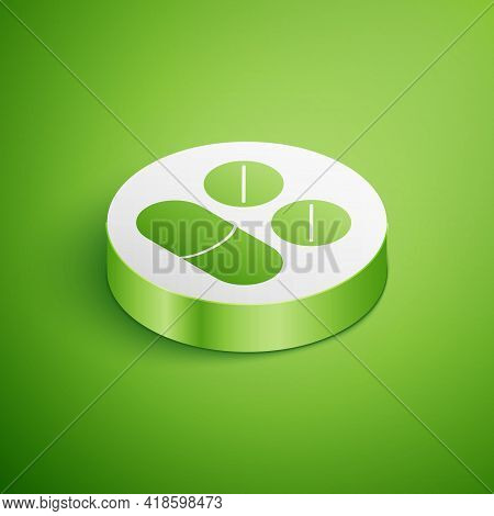 Isometric Toothache Painkiller Tablet Icon Isolated On Green Background. Tooth Care Medicine. Capsul