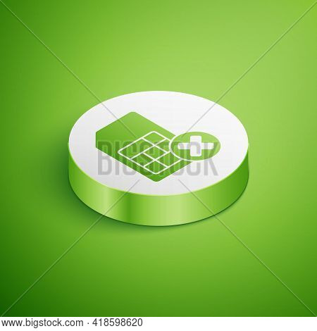 Isometric Sim Card Rejected Icon Isolated On Green Background. Mobile Cellular Phone Sim Card Chip.