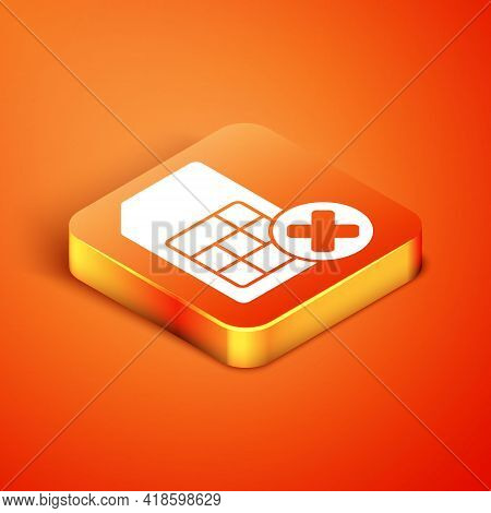 Isometric Sim Card Rejected Icon Isolated On Orange Background. Mobile Cellular Phone Sim Card Chip.