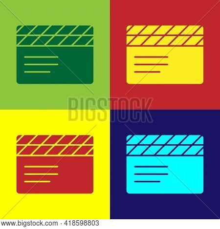 Pop Art Movie Clapper Icon Isolated On Color Background. Film Clapper Board. Clapperboard Sign. Cine