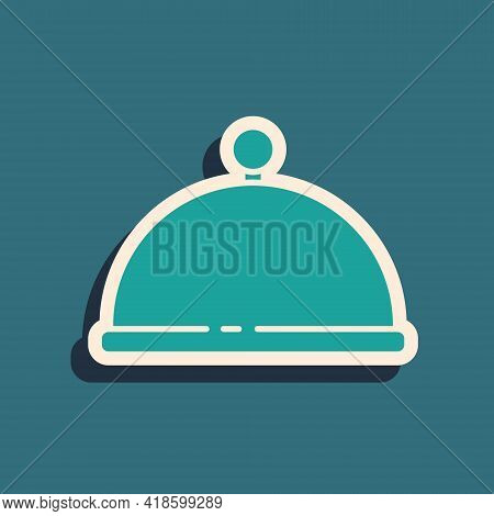 Green Covered With A Tray Of Food Icon Isolated On Green Background. Tray And Lid. Restaurant Cloche