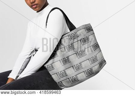 Young girl with vintage Japanese patterned canvas tote bag