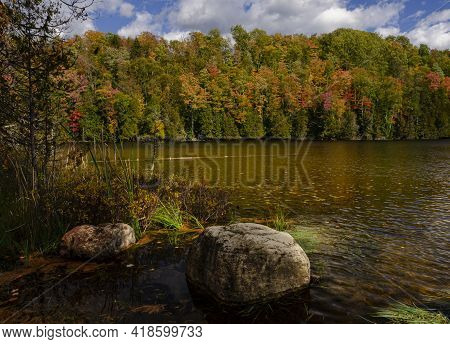 Fall Color Surrounds The Shore Of Hugoboom Lake In The Hiawatha National Forest, Delta County, Michi