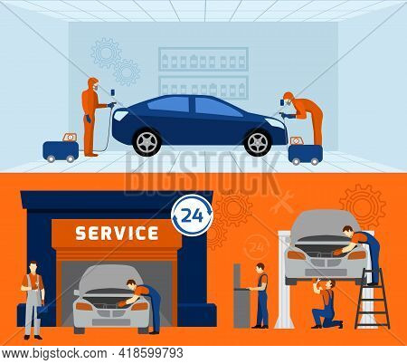 Auto Mechanic Garage Service  2 Flat Banners Set With Car Maintaining And Renovation Abstract Vector