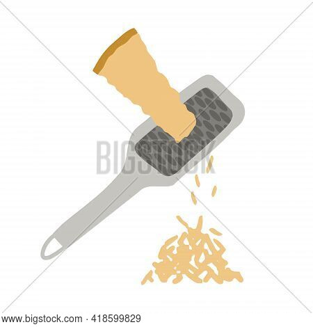 Hand Drawn Vector Illustration Of Parmesan Cheese Grated With Cheese Grater. Isolated On White Backg
