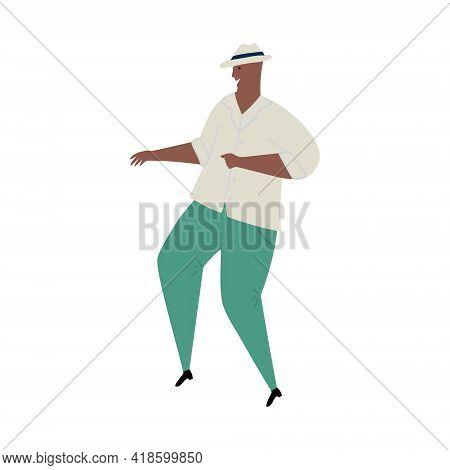 Vector Hand Drawn Cartoon Illustration Of Latino, Carribean. African Man Dancing Mambo
