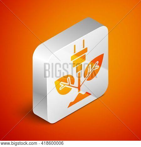 Isometric Electric Saving Plug In Leaf Icon Isolated On Orange Background. Save Energy Electricity.