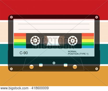 Just Retro Vector Design With 60's 70's Colour Bars And Audio Cassette Tape