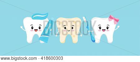 Tooth With Plaque And Cute Healthy Tooth Girl With Toothbrush And Boy With Toothpaste.