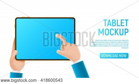 Mockup With Cartoon Hands And Tablet. Template Of Smart Device With Blank Display In Cartoon Hands I