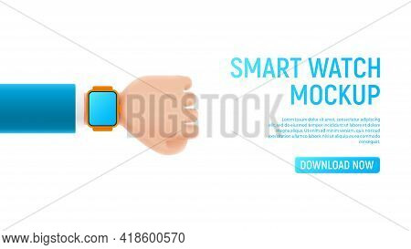 Mockup With Cartoon Hand And Smart Watch. Template Of Smart Device With Blank Display On Cartoon Han