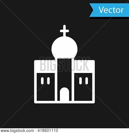 White Church Building Icon Isolated On Black Background. Christian Church. Religion Of Church. Vecto