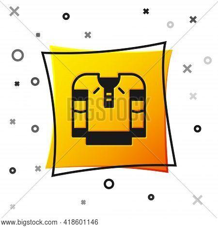Black Embroidered Shirt Icon Isolated On White Background. National Ukrainian Clothing. Yellow Squar