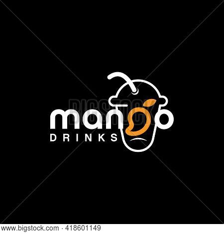 Mango Text Logo For Fresh Juice Drink And Culinary Vector Template Inspiration